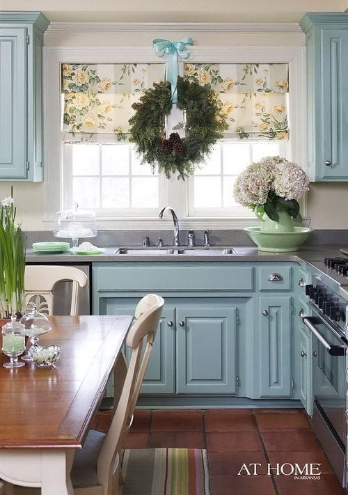 pop of color cabinets