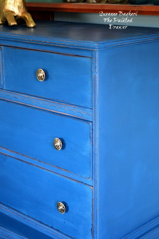 Blue Velvet vintage dresser in DecoArt Preservation Chalky Finish Paint Preservation