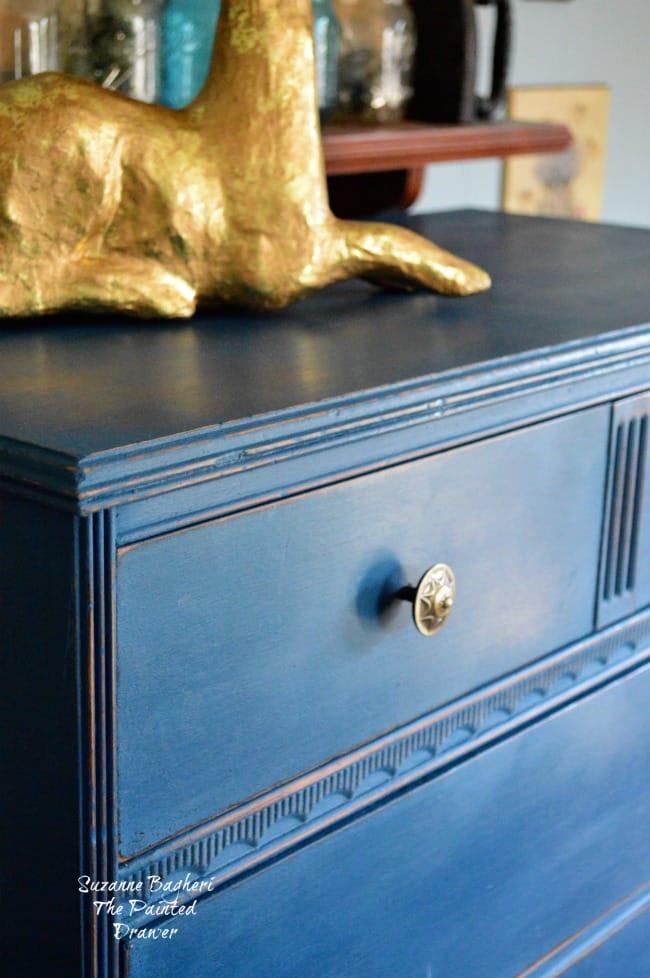 Blue Velvet vintage dresser in DecoArt Preservation Chalky Finish Paint Preservation