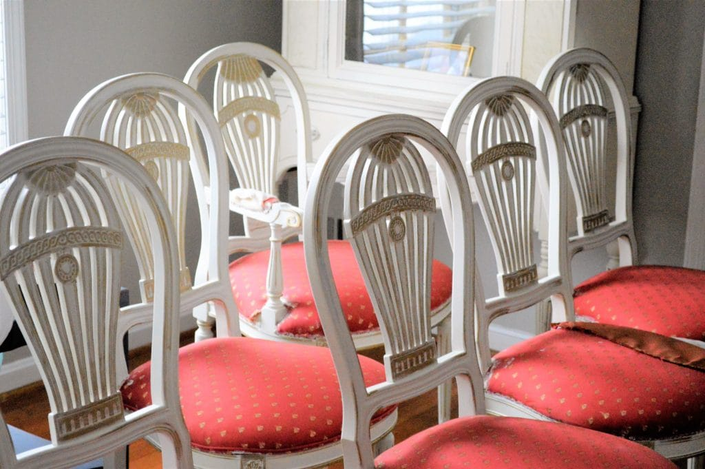 antique white and gold dining chairs