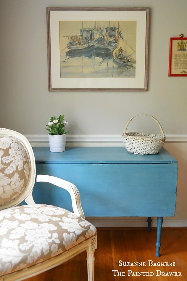 Farmhouse Table painted in blues