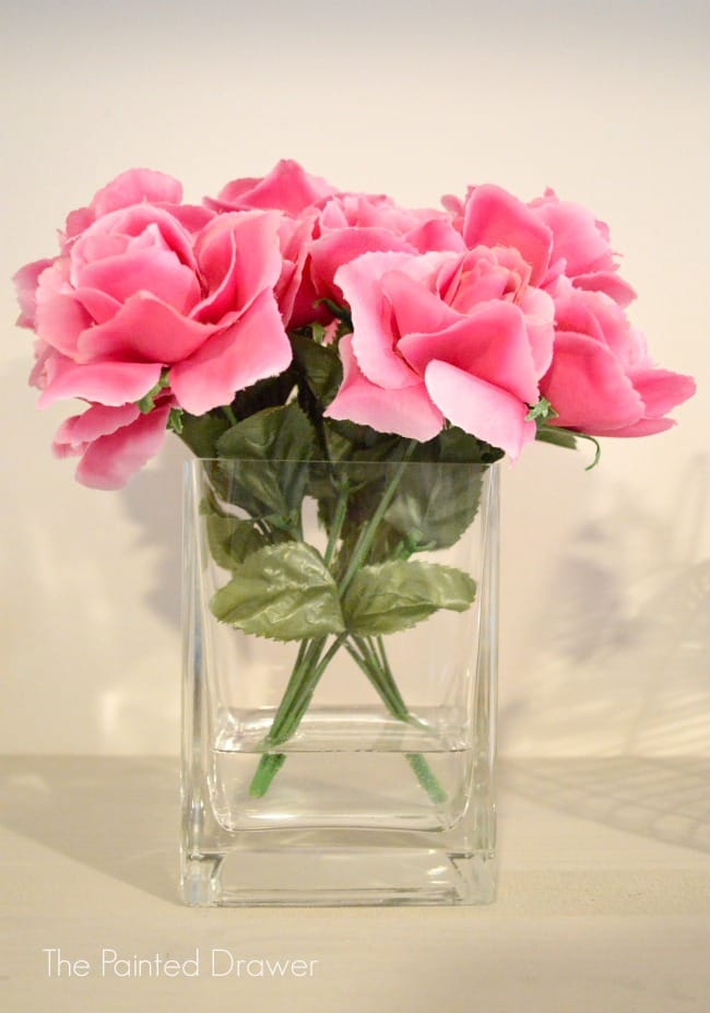 glass vase roses