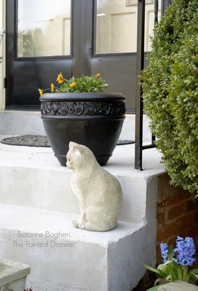 Faux Painted Stone Front Steps Makeover