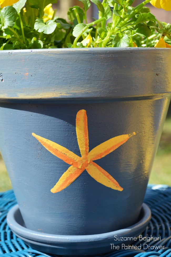 Sponge Painted Flower Pots
