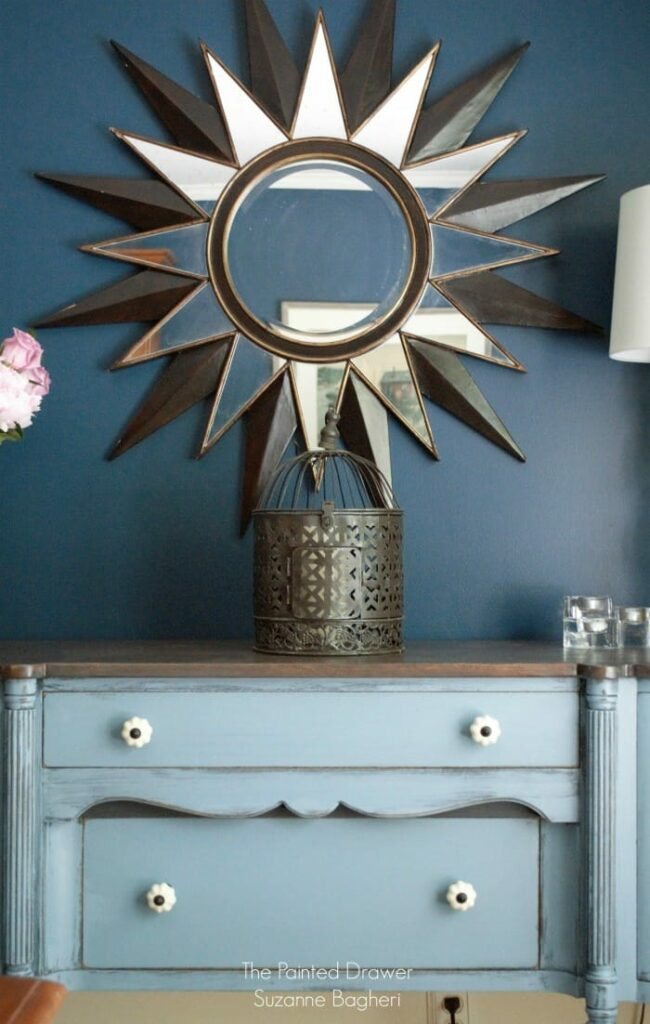Stillwater Blue Sideboard in a Rainstorm Dining Room