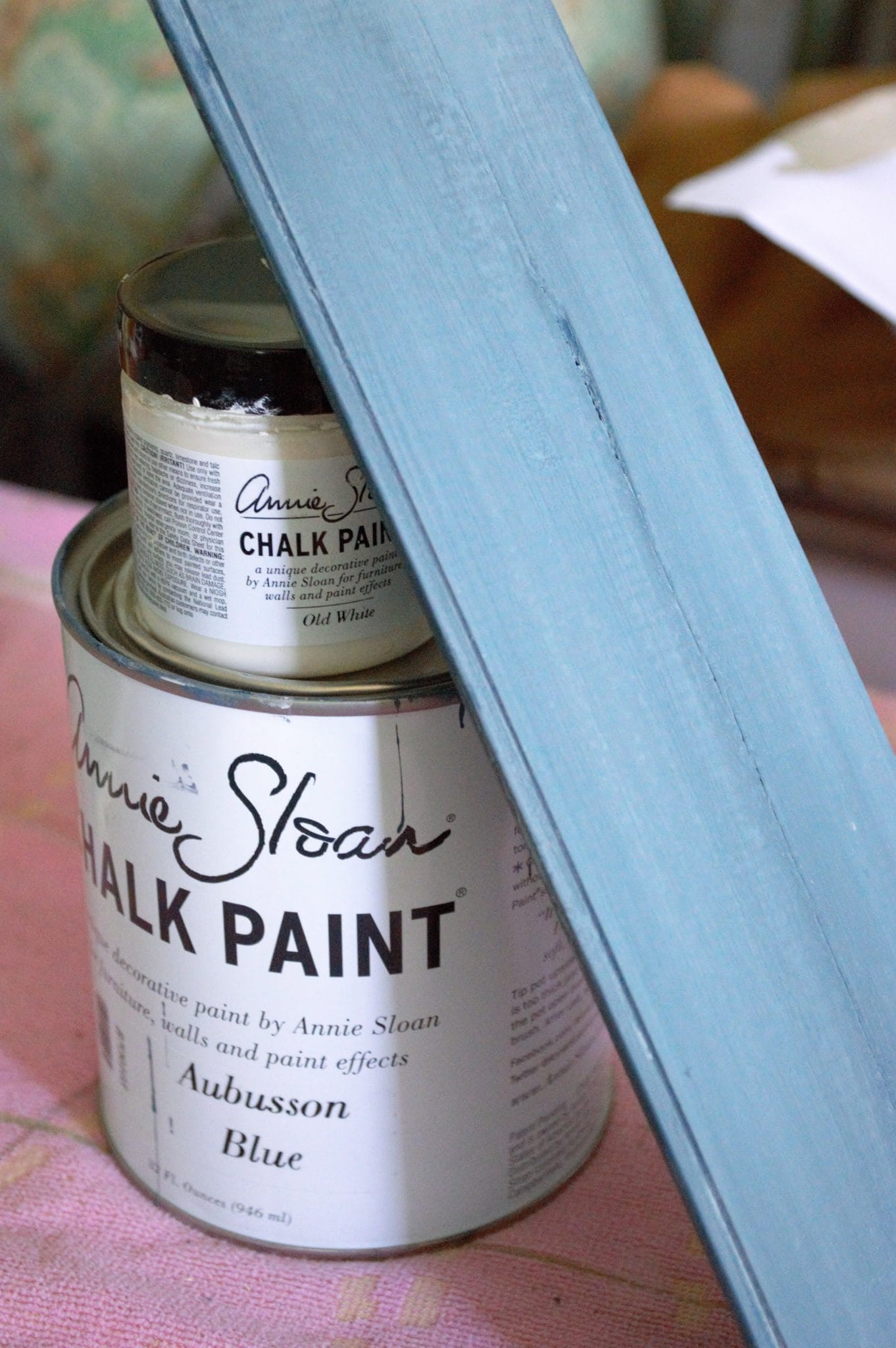 Annie Sloan Aubusson with White Wash to create a farmhouse finish