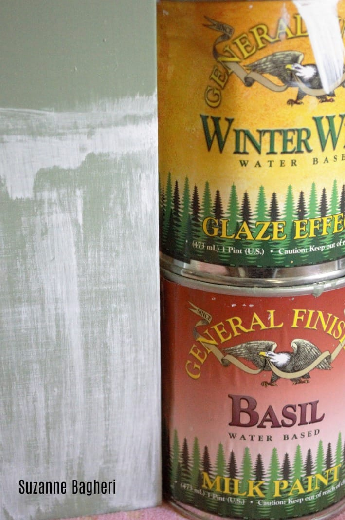 How to create a farmhouse finish with General Finishes Basil Milk Paint and Winter White Glaze