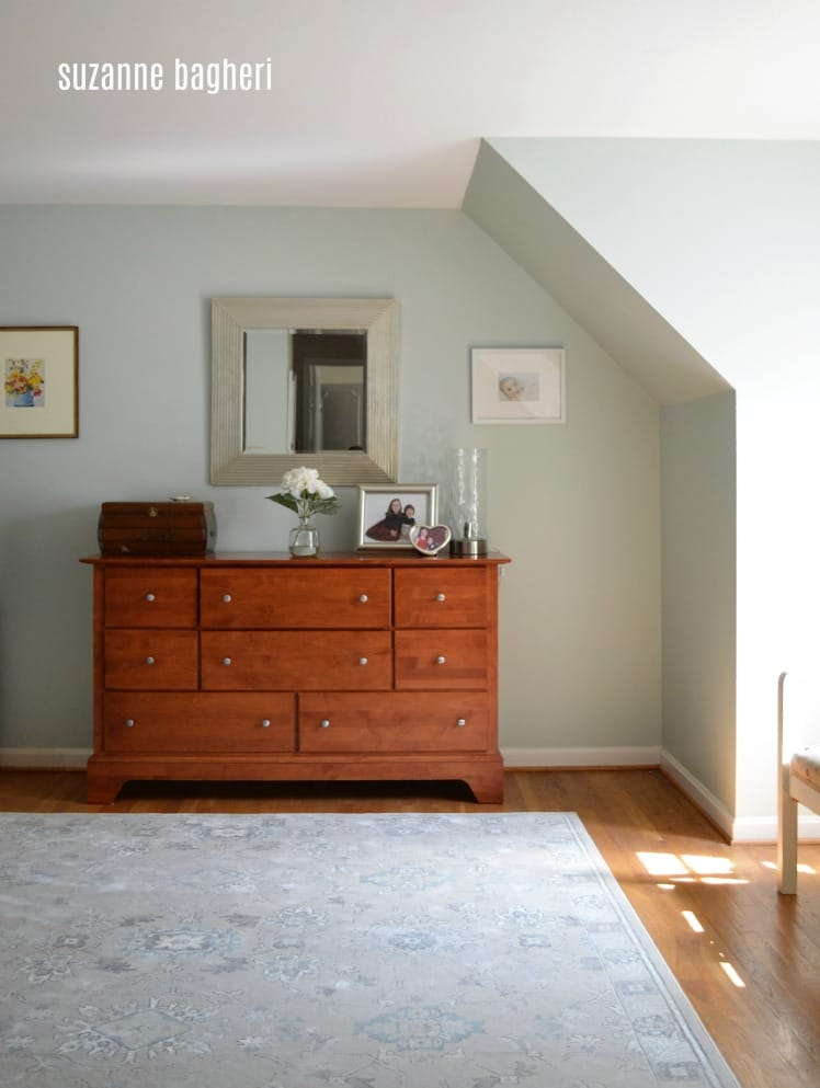 master bedroom in sherwin williams sea salt with thrift store finds