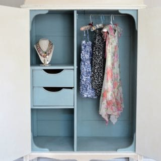 Armoire Interior in Annie Sloan Duck Egg