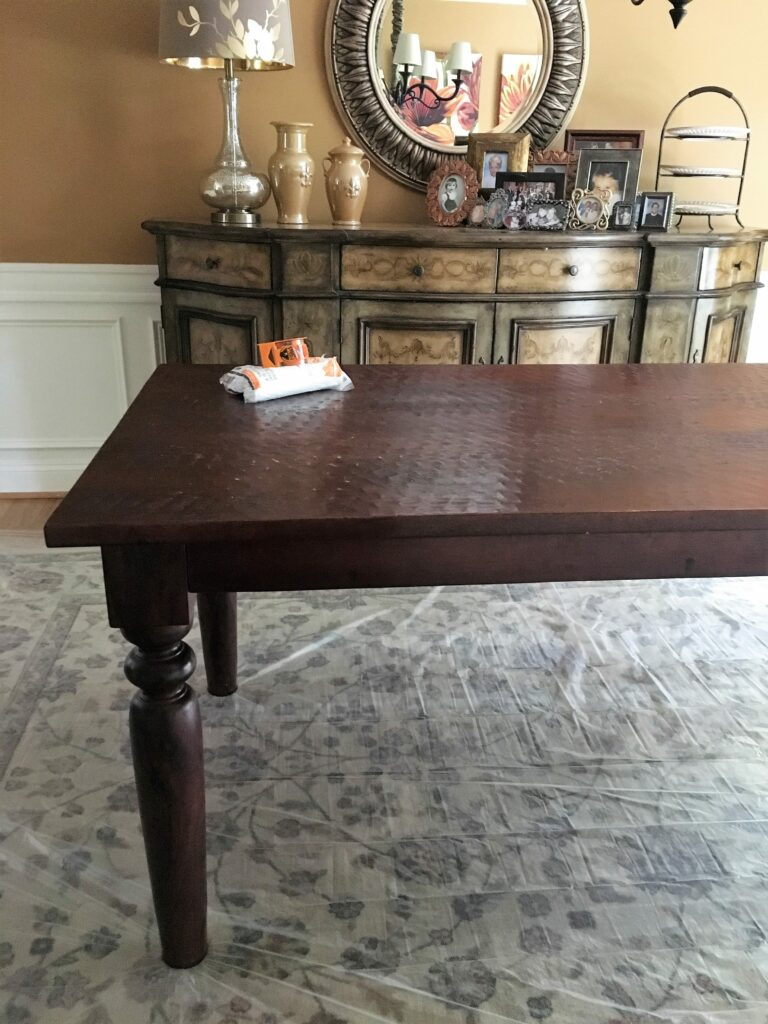 Dark to Light Custom Farmhouse Dining Table Makeover