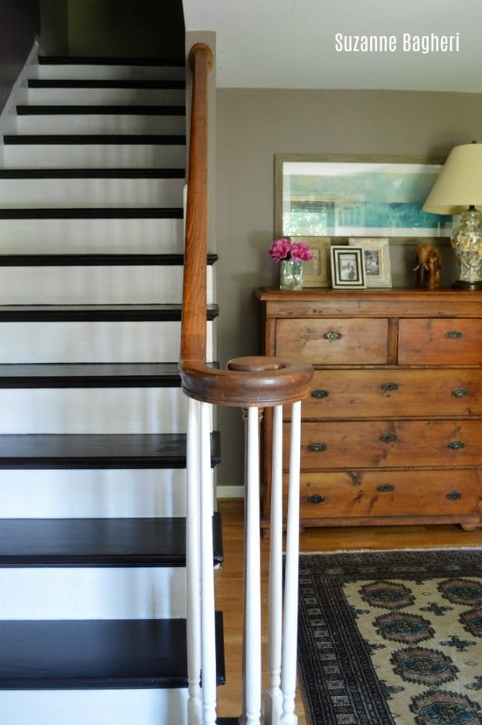 Painted Stairs General Finishes Dark Chocolate milk paint