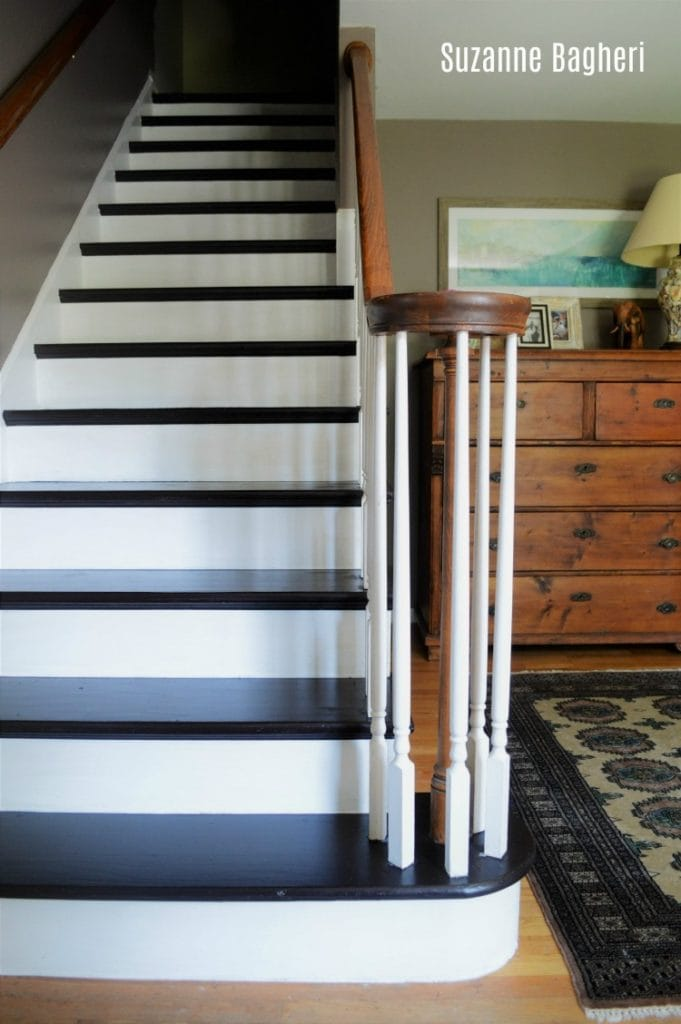 General Finishes Dark Chocolate milk paint stairs