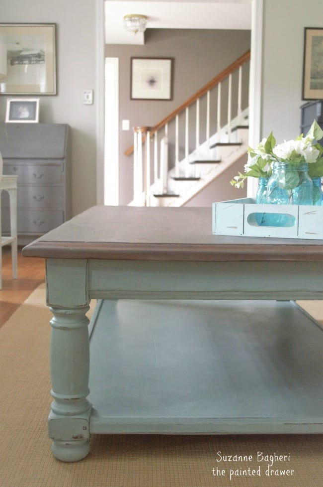 Beach Coffee Table in Duck Egg Gray Stain