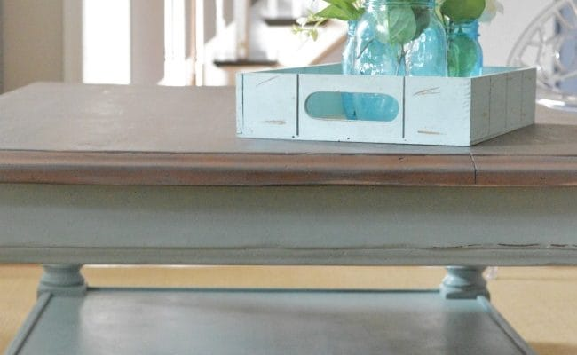 Country to Beach Chic Coffee Table Makeover
