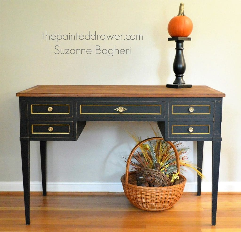 vintage desk in black and gold fall inspiration