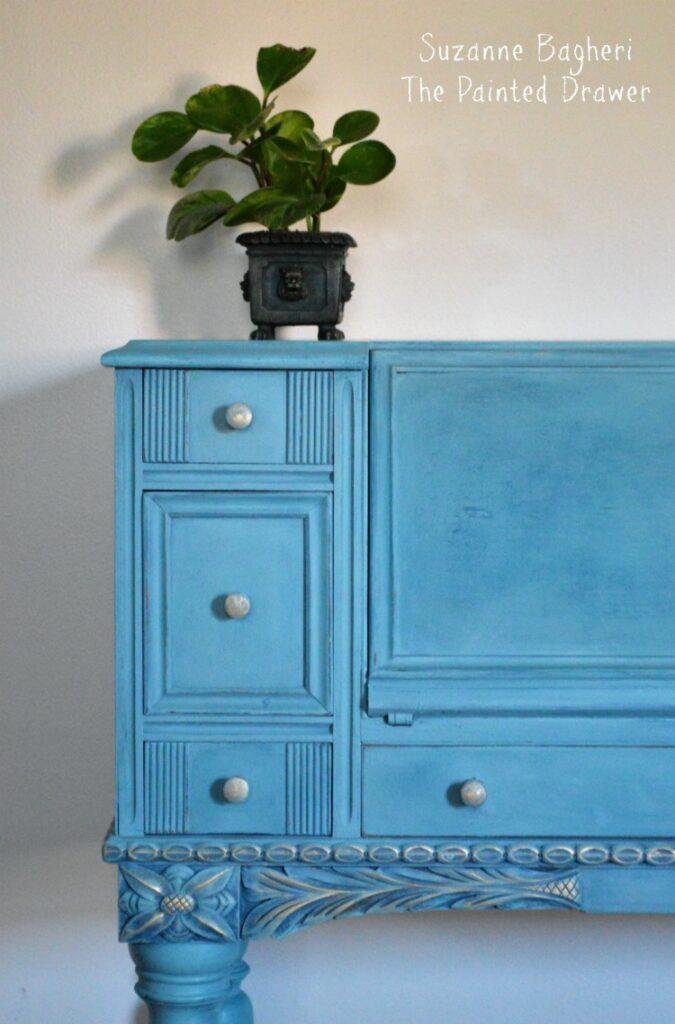 Vintage Desk in Combo of Annie Sloan Aubusson/Provence/Duck Egg paints