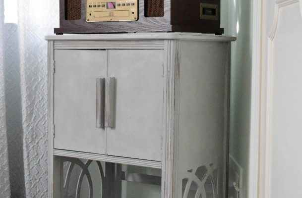 Vintage Record Cabinet, Before and After