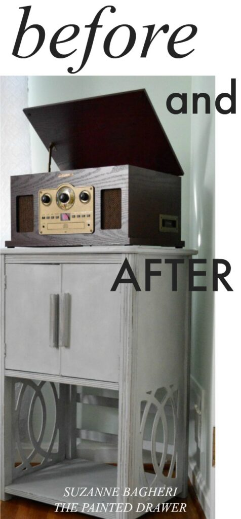 Before and After Thrift Store Vintage Record Cabinet