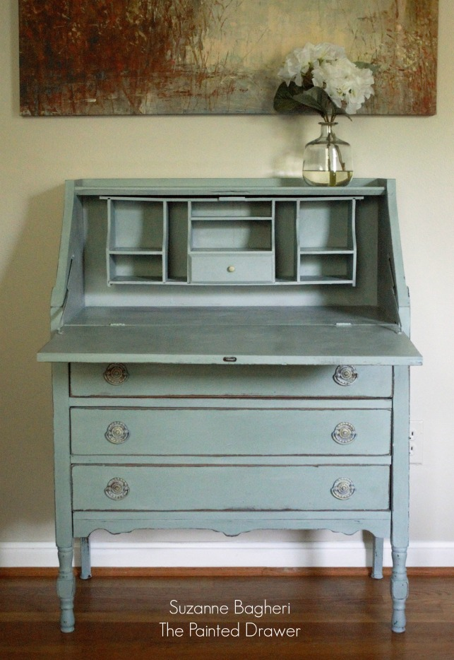 Vintage Desk in Annie Sloan Duck Egg