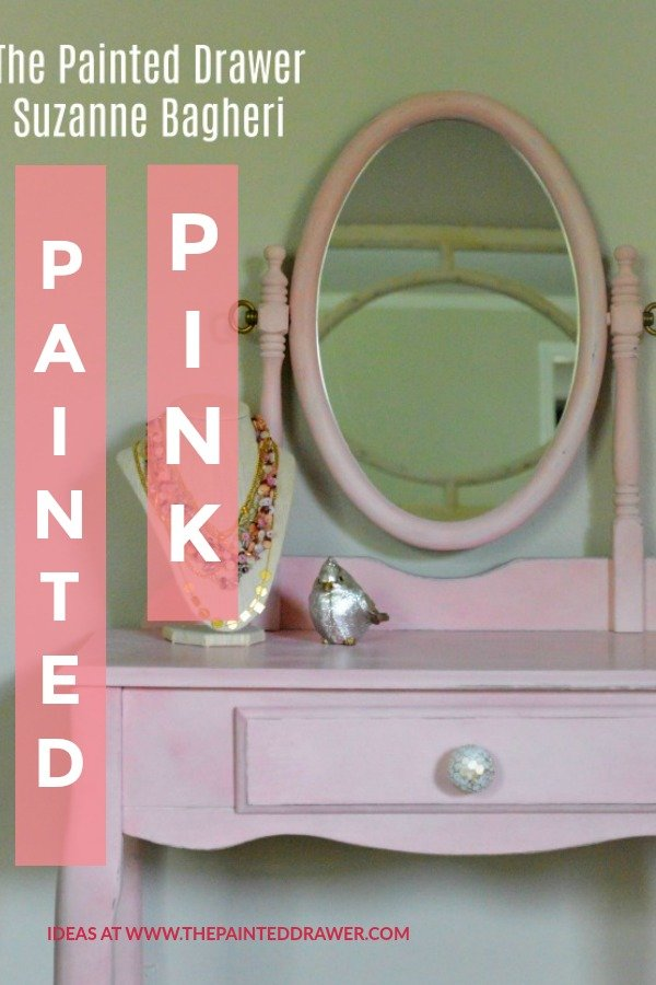 Painted Pink, a vintage thrift store vanity before and after