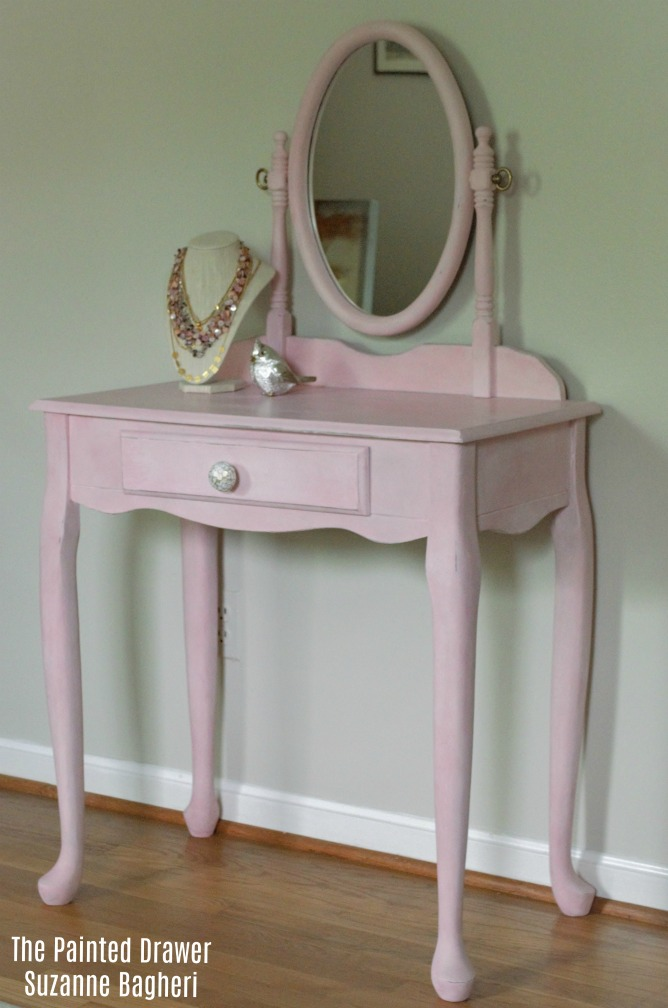 Painted Pink Vanity Before and After