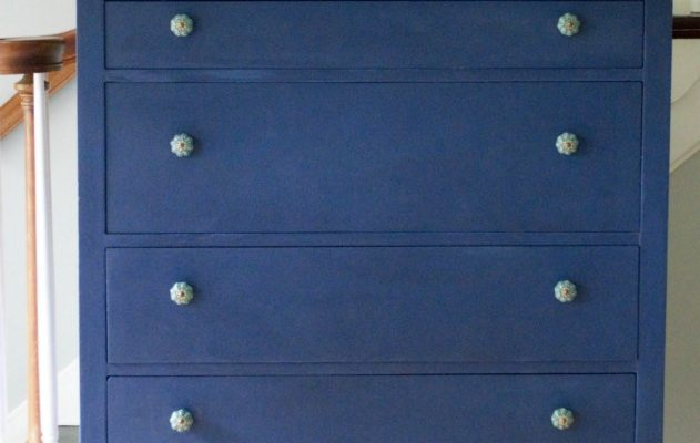Napoleonic Blue Dresser and Mirror Makeover