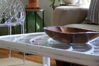 Vintage Bamboo Coffee Table in White