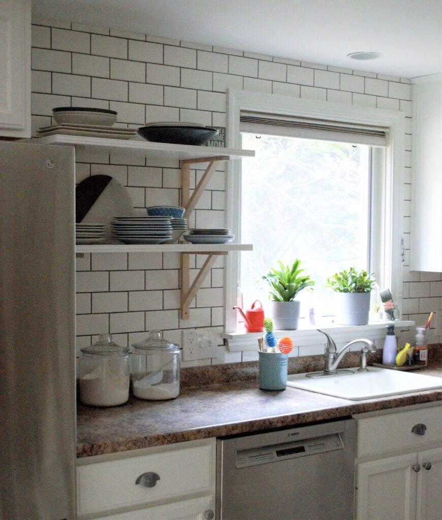Installing Open Shelving Into a Tile Backsplash – Finally Done!