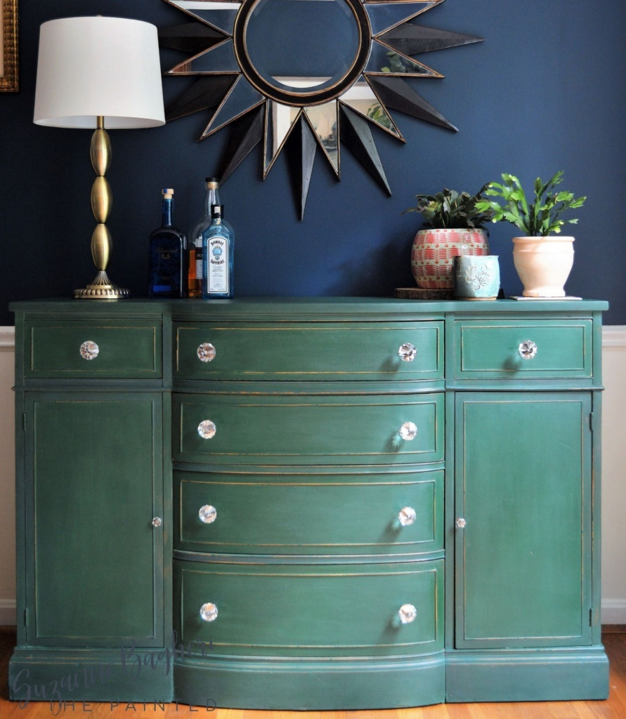 Curbside Buffet Makeover in Behr Chalk Paint Green Agate
