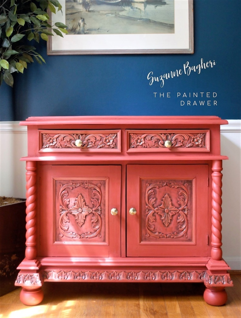 A Cabinet Makeover in a Pop of Red! Before and After…