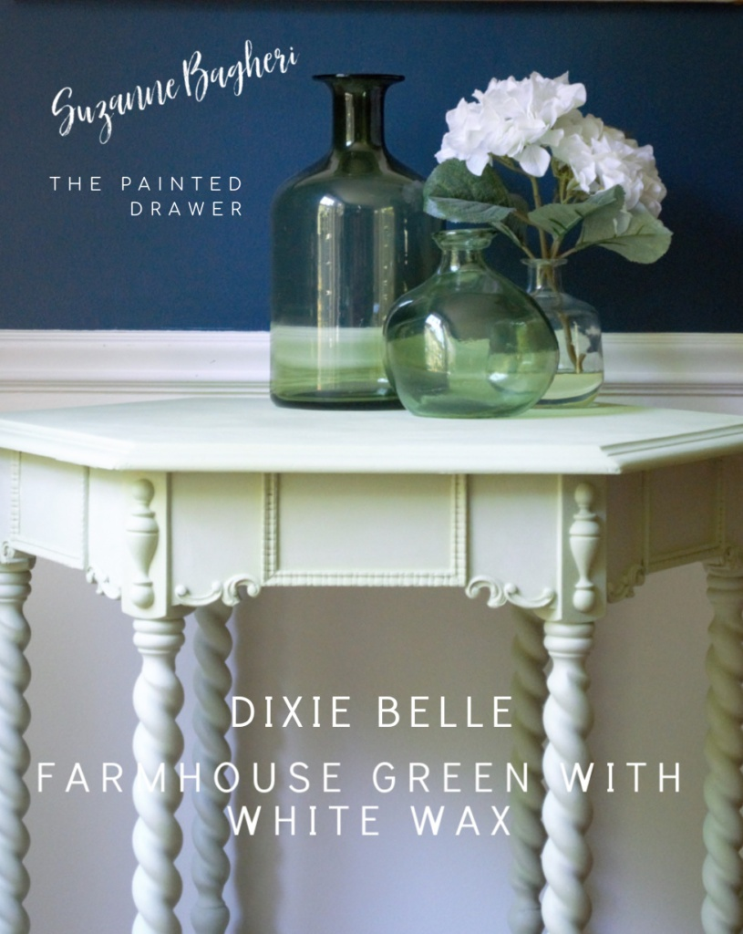 Cheery Cottage Table Makeover! Dixie Belle Farmhouse Green and White Wax – Before and After